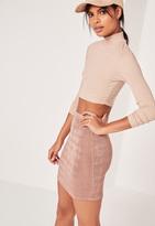 Missguided Textured Slinky Mini Skirt Mauve