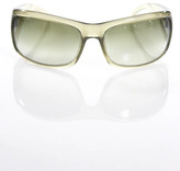 Prada Green Clear Plastic Frame Gradient Lens Shield Sunglasses With Case