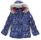 Hawke & Co Midnight Wildflower Bubble Jacket - Girls
