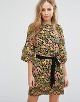Warehouse Floral Tie Front Shift Dress