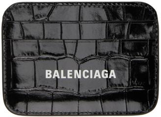 Balenciaga Black Croc Cash Card Holder