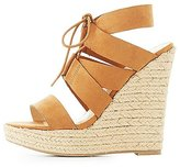 Charlotte Russe Lace-Up Espadrille Wedge Sandals