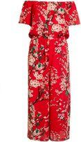 Quiz Red Crepe Floral Culotte Jumpsuit