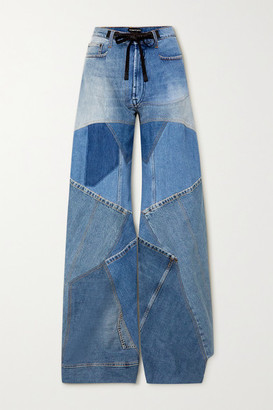 Tom Ford Leather-trimmed Distressed Patchwork High-rise Wide-leg Jeans - Blue