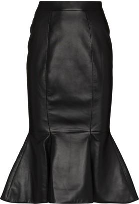 Alexandre Vauthier Fishtail Lambskin Midi Skirt
