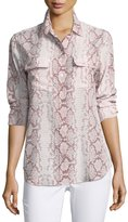 Equipment Slim Signature Long-Sleeve Snake-Print Silk Shirt