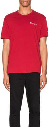 Champion Reverse Weave Small Script T-Shirt in Scarlet | FWRD