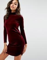 Boohoo High Neck Velvet Dress