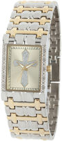 JCPenney FINE JEWELRY Personalized Mens Diamond-Accent Rectangular Two-Tone Cross Watch
