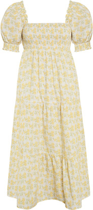 Faithfull The Brand Luisa Dahlee Floral Print Cotton Poplin Midi Dress