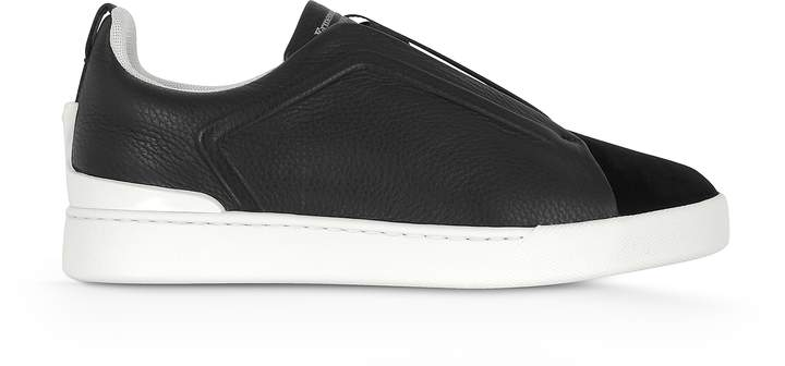 Ermenegildo Zegna Deep Blue Triple Stitch Woven Leather Low Top Sneakers