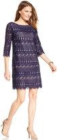 Jessica Howard Three-Quarter-Sleeve Crochet Lace Shift
