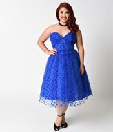 Unique Vintage Plus Size 1950s Royal Blue Swiss Dot Dandridge Strapless Swing Dress