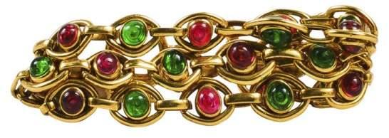 Chanel Gold Tone Pink Green Gripoix Stone Multi Strand Link Bracelet