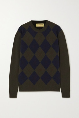JAMES PURDEY & SONS Argyle Cashmere Sweater - Army green