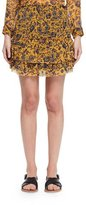 Etoile Isabel Marant Brinley Tiered Floral Silk Skirt, Yellow