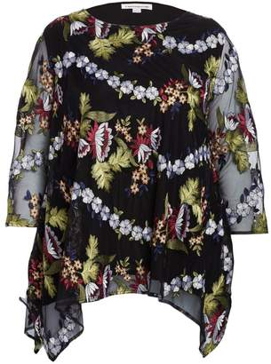 Caroline Rose, Plus Size Floral-Embroidered Lined Chiffon Tunic