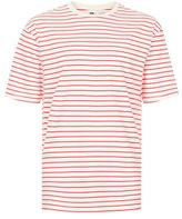 Topman Off White And Red Stripe Oversized T-Shirt
