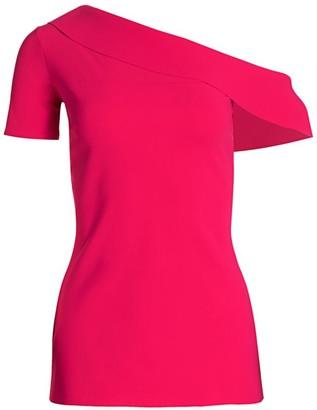 Chiara Boni Marjan Ruffled One-Shouldered Short-Sleeve Top