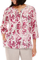 Alfred Dunner Veneto Valley 3/4-Sleeve Scroll Print Tunic