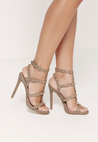 Missguided Dome Studded Gladiator Heels Brown