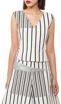 Akris V-Neck Sleeveless Irregular-Stripe Cotton Canvas Top