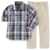 Tommy Hilfiger 2-Piece T-Shirt and Pant Set in Plaid/Tan