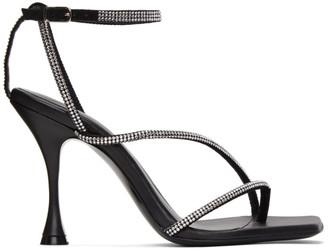 Magda Butrym Black Crystal Strappy Heeled Sandals