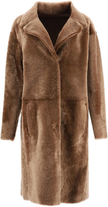 Drome REVERSIBLE IN SHEARLING COAT S Brown Leather, Fur