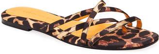 Veronica Beard Martha Strappy Leopard-Print Sandals