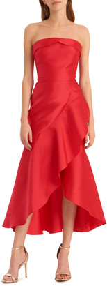 ML Monique Lhuillier Strapless High-Low Midi Dress with Asymmetrical Skirt
