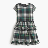 J.Crew Girls' ruffle dress in navy-green tartan