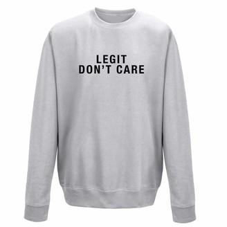 IC Clothing LEGIT Don't Care Grey Ladies Slogan Crew Sweatshirt (M (10/12))