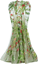Christian Siriano Iridescent Garden Floral Organza Pleated Sleeve Gown