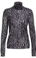 Saks Fifth Avenue Women's COLLECTION Leopard-Print Cashmere Turtleneck Sweater
