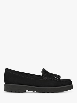 Dune Gates Nubuck Chunky Sole Loafers, Black