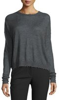 Helmut Lang Distressed Slub-Knit Cashmere Sweater, Charcoal