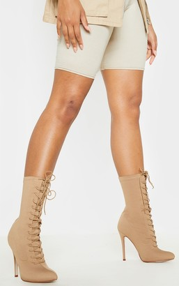 Indigo Mazy Nude Lace Up Sock Boots