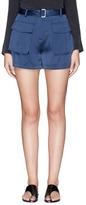 Theory 'Vasilica' belted silk satin shorts