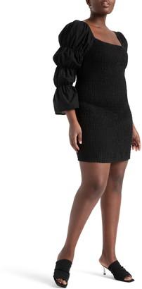 ELOQUII Puff Sleeve Smocked Minidress