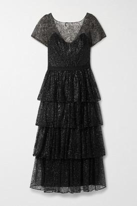 Marchesa Tiered Glittered Tulle Midi Dress - Black