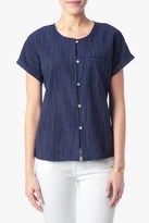 7 For All Mankind Striped Welt Pocket Shirt In Navy