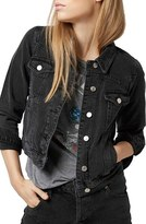 Topshop Women's Moto 'Tilda' Washed Denim Jacket