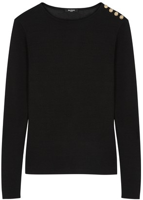 Balmain Black Fine-knit Top