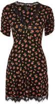 Topshop Lace Trim Ditsy Floral Print Tea Dress