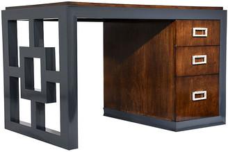 One Kings Lane Vintage Mid-Century Modern 2-Tone Kneehole Desk - Castle Antiques & Design