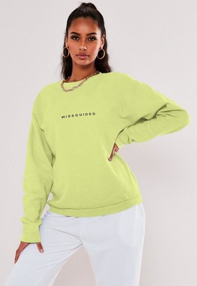 Missguided Tall Lime Oversized Graphic Sweatshirt