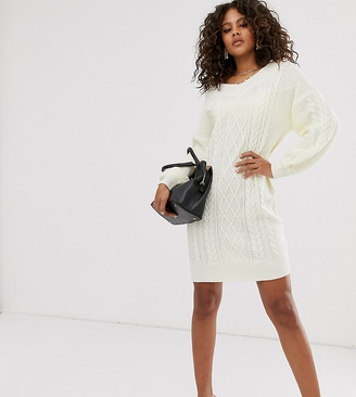 Fashion Union Tall oversized cable knit sweater dress-Cream