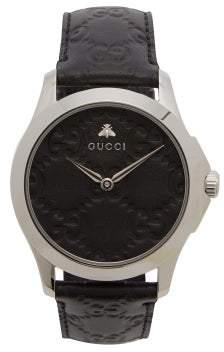 Gucci G Timeless Gg Embossed Leather Watch - Mens - Black Silver