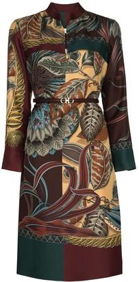 Salvatore Ferragamo Leaf-Print Midi Shirtdress